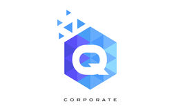 Q Blue Hexagonal Letter Logo Design with Mosaic Pattern. Q Blue Hexagonal Letter Logo Design with Mosaic Blue Pattern Royalty Free Stock Photos