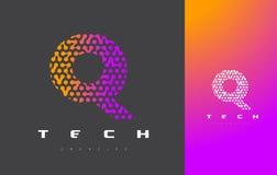 Q-bokstav Logo Technology FörbindelseDots Letter Design Vector Arkivfoto