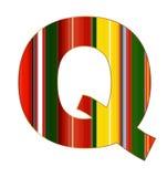 Q-Buchstabe in den bunten Linien auf weißem Hintergrund Stockbild