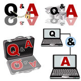 Q & A collection. A collection of Q & A - Questions and Answers - illustrations Stock Photography