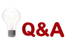 Q&A concept. 3D rendered illustration of the Q&A concept. The composition is isolated on a white background with no shadows and has a light bulb to the left of Royalty Free Stock Photos