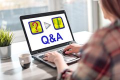 Q&a concept on a laptop screen. Laptop screen displaying a q&a concept stock photography