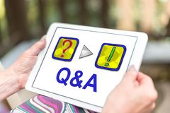 Q&a concept on a tablet. Female hands holding a tablet with q&a concept stock photos