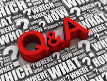 Q and a 3d illustration Royalty Free Stock Image