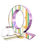 `Q` decorated letter with renovation tools Royalty Free Stock Image