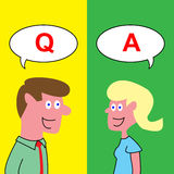 Q et A, dessin de questions et réponses de dessin animé illustration stock