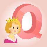 Q gör till drottning alfabetsymbolen utmärkt för något bruk eps10 blommar yellow för wallpaper för vektor för klippning för rac f Royaltyfri Fotografi