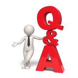 Q&A Icon - Questions and answers - 3d man Stock Photo