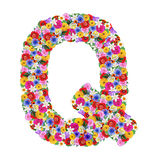 Q,  letter of the alphabet in different flowers Royalty Free Stock Photo
