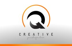 Q Letter Logo Design with Black Orange Color. Cool Modern Icon T. Q Letter Logo Design with Black Orange Color. Cool Modern Icon Letters Logo Vector Royalty Free Stock Photography