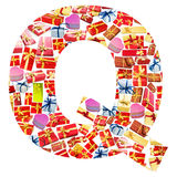 Q Letter   made of giftboxes Stock Photo