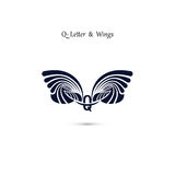 Q-letter sign and angel wings.Monogram wing vector logo template Royalty Free Stock Image