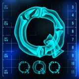 Q Letter Vector. Capital Digit. Roentgen X-ray Font Light Sign. Medical Radiology Neon Scan Effect. Alphabet. 3D Blue. Light Digit With Bone. Medical, Pirate Royalty Free Stock Photography