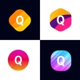 Q letter vector company icon signs flat symbols logo set Stock Photos