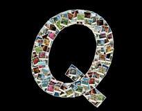 Q llitera -旅行照片拼贴画  免版税图库摄影