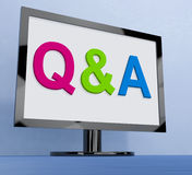 Q&a On Monitor Shows Questions And Answers Online Stock Photography