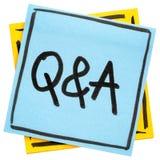 Q&A - muestra de las preguntas y de las respuestas Fotos de archivo libres de regalías