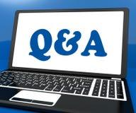 Q&a op Monitor toont Vraag en antwoord Online Stock Afbeelding