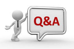 Q&A - question and answer. 3d people - man, person with a speech bubble. Q&A - question and answer Stock Image