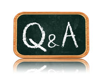 Q&A - questions and answers on blackboard banner. Q&A - questions and answers chalk text on 3d isolated wooden blackboard banner Royalty Free Stock Photography
