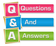 Q And A - Questions And Answers Colorful Vertical. Q and A - questions and answers text alphabets written over colorful background Royalty Free Illustration