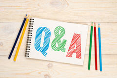 Q&A, questions and answers concept. Q&A, questions and answers with colorful pencils concept Stock Images