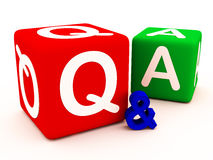 Q&A questions answers and doubts. Q&A on cube blocks, q is in red, representing questions or queries, whereas A is in green denoting answers or solutions Royalty Free Stock Image