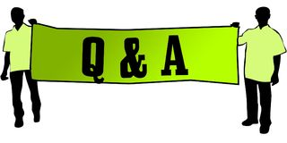 Q A QUESTIONS AND ANSWERS on a green banner carried by two men. Illustration graphic Stock Photography