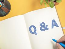 Q & A, Questions and Answers. Motivational internet business words quotes. Lettering typography concept royalty free stock photography