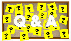 Q and A Questions Answers Sticky Notes Bulletin Board stock illustration