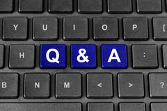 Q&A or Questions and answers word on keyboard stock photography