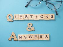 Q & A, Questions and Answers. Words Typography Concept. Q & A, Questions and Answers. Motivational internet business words quotes, wooden lettering typography stock photography