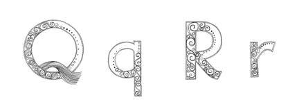 Q R万代兰属徒手画的铅笔剪影字体 免版税图库摄影