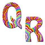 Q, R, ilustração colorida da pia batismal da onda. Foto de Stock