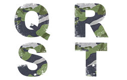 Q, R, S, T abecadło Od Militarnej tkaniny tekstury. Fotografia Stock