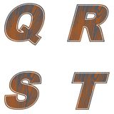 Q, R, S, T, Letters of brown color. Design of old wood. Vector. Q, R, S, T, Letters of brown color. Design of old wood Vector illustration stock illustration