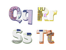 Q; r; s; t letters. Are made of European banknotes Stock Illustration