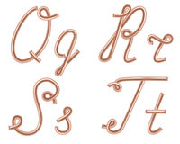 Q, R, S, T Vector Letters Made of Metal Copper Wire. Royalty Free Stock Photo
