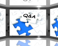 Q&A On Screen Showing Television's Guide Royalty Free Stock Photo