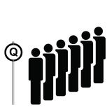 Q sign. A number of people queuing next to Q sign Royalty Free Illustration