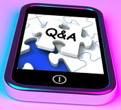Q&A On Smartphone Showing Asking Inquiries Royalty Free Stock Images