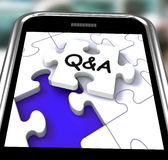 Q&A Smartphone Shows  Questions Answers. Q&A Smartphone Showing  Questions Answers And Assistance Royalty Free Stock Photography