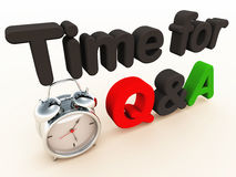 Q&A time. Question and answer or Q&A time, concept with alarm clock and 3d text on white space Stock Photography