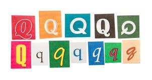 Q verwijderde brieven Stock Fotografie