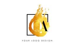 QA Gouden Brief Logo Painted Brush Texture Strokes Stock Fotografie