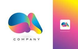 QA Logo Letter With Rainbow Vibrant Mooie Kleuren Kleurrijk t Stock Afbeeldingen