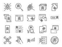 Qa- och för symbol för felknipa uppsättning Inklusive symboler som felrapport, datavirus, spyware, karantän, kvalitets- försäkrin Royaltyfri Fotografi