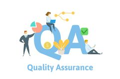 QA, Quality Assurance. Concept with keywords, people and icons. Flat vector illustration. Isolated on white background. QA, Quality Assurance. Concept with royalty free illustration