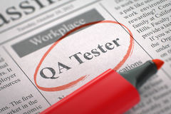 QA Tester Hiring Now. 3D. Newspaper with Classified Advertisement of Hiring QA Tester. Blurred Image with Selective focus. Job Seeking Concept. 3D royalty free stock photos