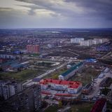 Qadcopter. Russia kuban afipsky flying Royalty Free Stock Images